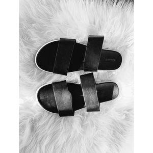 Black two strap platform sandals